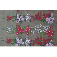 Romantic 3D Flower Embroidered Tulle Lace Fabric , Embroidered Net Fabric Cloth Manufactures