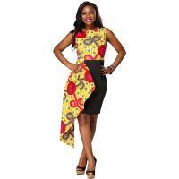 Fashion Contracted Irregular African Print Dresses Lady Batiks Sleeveless Dress Manufactures