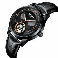 Buy cheap Black Genuine Leather Wrist Watch Hollow Out Dial Analog High Refraction from wholesalers