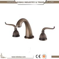 Top Quality 3 way Dual Handle antique brass sink faucet basin tap Manufactures