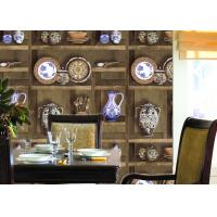 China Chinese Classical Dining Room Wallpaper , Vase Pattern vinyl coated wallpaper SGS Test on sale