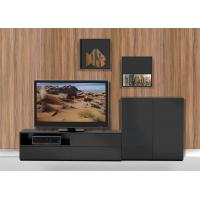 Buy cheap High Gloss Melamine Entertainment Wall Unit Eco - Friendly With Pure Black from wholesalers