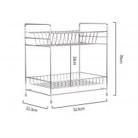 Double Tier Kitchen Dish Drying Shelf With Cutlery Holder And Chopstick Holder Manufactures