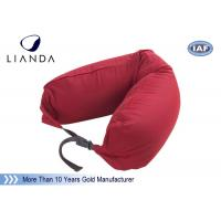 China Promotional Gift Red Memory Foam Pillows For Car / Train , Microbeads Material on sale