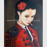Human Figure Painting Oil Painting Canvas / Smoking Woman In Red Painting Manufactures