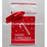 China Promotional Red Ribbon Drawstring Plastic Bags For Christmas Gift For Children on sale