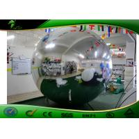 Large PVC Dia 2M Inflatable Advertising Mirror Ball / Inflatable Silver Reflective Balloon For Events Decoration Manufactures