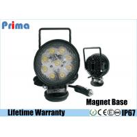 27W Round Portable LED Work Lights With Magnetic Base , Cigar Lighter Connector Manufactures