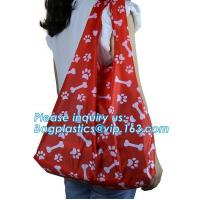 190T polyester animal folding reusable shopping bag with small pouch,Eco friendly folding polyester foldable reusable sh Manufactures