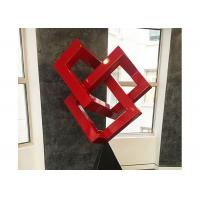 China Red Painted Metal Sculpture Modern Art Geometric Sculpture For Decoration on sale