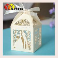 China mini decorative wedding cake boxes laser cut bride and groom gift boxes chocolate packaging boxes on sale