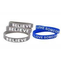 Blue Or Gray Sports Silicone Wristbands / Custom Made Silicone Bracelets Manufactures