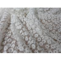 Daisy Small Flower Nylon Mesh Fabric By The Yard , Off White Lace Fabric For Dresses Manufactures