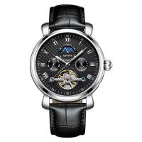 Buy cheap 30M Waterproof Tourbillon Mechanical Watch Soft Black Leather Band from wholesalers