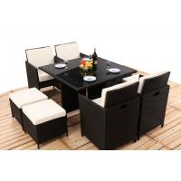 8CM Thickness Cushion Rattan Dining Table And Chairs 4PCS Ottoman Covered Manufactures