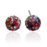 Quality Fashion Shamballa 10mm Silver Round Ball Pave Beads Crystal Stud Earrings for sale