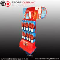 Quality custom corrugated paper POP peg hook floor display rack for sale