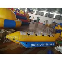 Blue And Yellow Inflatable Fly Fishing Boats / Inflatable Banana Boat 4 Seats Manufactures
