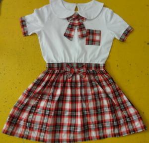 100% Cotton Checked Girls School Uniform Dresses , Summer Kids Uniform Dress Manufactures