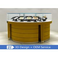 Modern Wooden + Tempered Glass Jewelry Display Counter Matte Yellow Manufactures