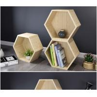 Diy Solid Wood Display Rack , Hexagon Floating Storage Shelves Free Combination Manufactures