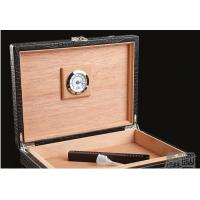 China Black Luxury Spain Wooden Cigar Gift Box / Engraved Cigar Humidor on sale