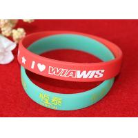 Quality Soft Feeling Printed Silicone Wristbands , Promotional Rubber Wristbands SGS for sale
