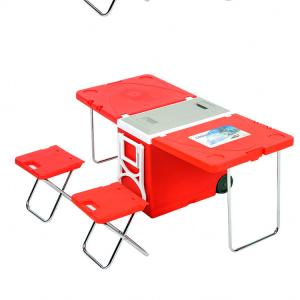 China Two Wheeled Collapsible Handcart Picnic Folding Table on sale