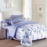 Purple Colorem Broidered Flower Home Bedding Sets Tencel Duvet Cover / Sheet Set Manufactures