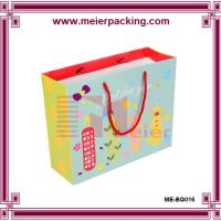 China manufacturer customized full color coated paper bag with red rope handle for kids Manufactures