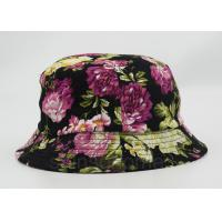 Flower Printed Fishing Bucket Hat Cotton With Woven Patch Washing Label