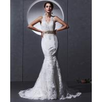 Lace Deep V open back Halter Neck Wedding Dresses mermaid Slim Wedding Gowns Manufactures