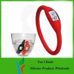 Waterproof Black / Orange / Green Anion Silicone Wristband Watch 16cm /17cm / 18cm Manufactures