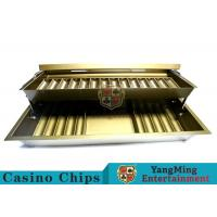 15 Row Metal Casino Chip Tray With Two Layer , Casino Chip Holder With Lock Cover Manufactures