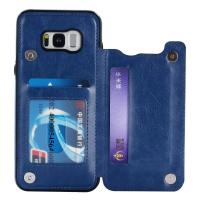 Single - Face Holder Galaxy S8 Leather Wallet Case Three Card Slot Special Design Manufactures