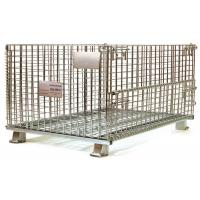 European stackable collapsible galvanized steel wire mesh cage metal storage container for wine bottle industry Manufactures