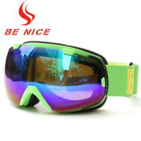 Green Mirrored Ski Goggles With Removable Lenses , Polyethylene Foam 15mm Thickness Manufactures