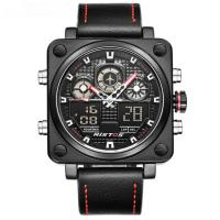 China digital analog watch Leather Strap LCD Back Light Dual time sport watches for men on sale