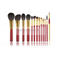China Animal Hair Makeup Brushes With Classic Match Bright Red Handle And Gold Ferrule on sale