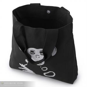 Washable Pure Black Canvas Grocery Bags Large Size Longitudinal Stripe Manufactures