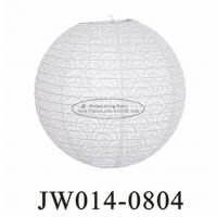 White Round Eyelet Paper Lanterns 10 Inch 12 Inch 14 Inch With Flowers Patterns
