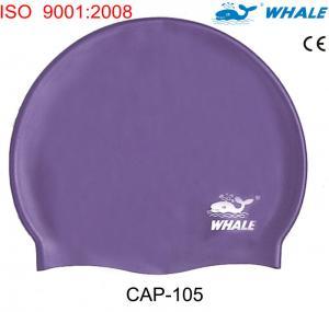 China Cheap Purple Silicone Swimming Caps,  dome swim caps with 100% soft silicone on sale