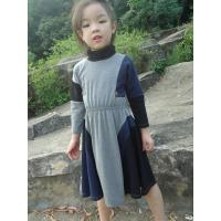 Grey  Turtleneck 5 Year Baby Girl Dress , Little Girl Long Sleeve Dresses Cotton Spandex Manufactures