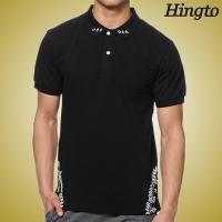 Eco Friendly Black Short Sleeve Polo Shirts with Mature Silk Screen Manufactures