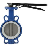 Chinese Supplier 6 inch Manual Handle DI PTFE Wafer Type butterfly valve Price Manufactures