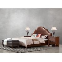Quality American leisure style Split Leather Upholstered Headboard Kind Bed with Wooden for sale