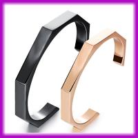 2015 Fashion Unique Stainless Steel Couple Open Square Shaped Bangle Manufactures