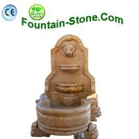 Lion Head Carvings Yellow Marble Wall Fountain For Garden Manufactures