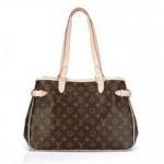 Golden Brass LV Monogram Handbags Batignolles Horizontal with Oxidizing Leather Trimming Manufactures