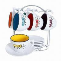 Ceramic Espresso Coffee Cup and Saucer Set, Customized Logos, Colors and Designs are Welcome Manufactures